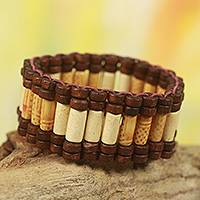 Wood stretch bracelet, 'Adinpa' - Artisan Crafted Eco Friendly Wood Beaded Stretch Bracelet