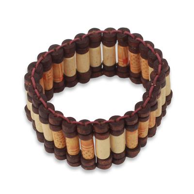 Artisan Crafted Eco Friendly Wood Beaded Stretch Bracelet