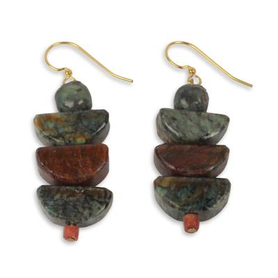 Soapstone beaded earrings, 'Nkabom' - Artisan Crafted Natural Soapstone Beaded Hook Earrings