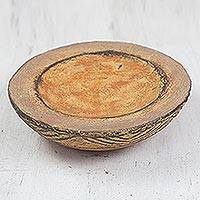 Ceramic catchall, 'Brown Ewe Agbah' - Hand Crafted Aged Ceramic Catchall For Decorative Use Only