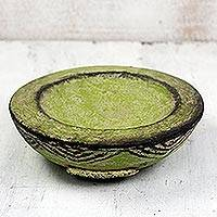Ceramic catchall, 'Green Ewe Agbah' - Hand Made Aged African Decorative Ceramic Catchall