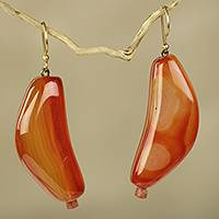 Agate dangle earrings, 'Nhyira' - Agate and Bauxite Hook Earrings Crafted by Hand