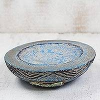 Ceramic catchall, 'Blue Ewe Agbah' - Hand Crafted Aged Ceramic Catchall For Decorative Use Only