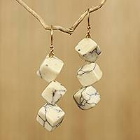 Agate dangle earrings, 'Aseda' - Artisan Crafted Earrings with White Agate Cubes