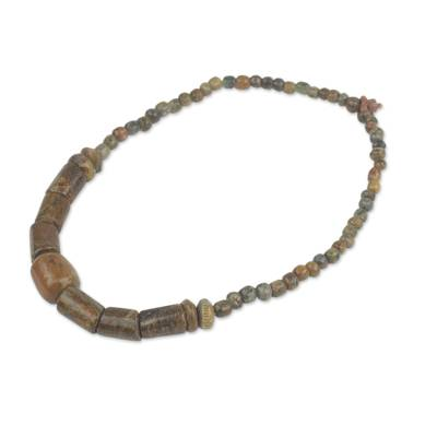 Soapstone beaded necklace, 'Adwene Pa' - African Soapstone Beaded Necklace Crafted by Hand