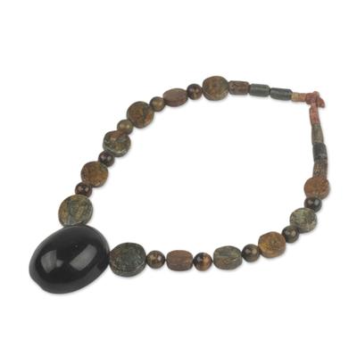 Tiger's eye beaded necklace, 'Ahemaa Tumi' - Horn Pendant on Tiger's Eye Soapstone Beaded Necklace