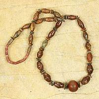 Long beaded necklace, 'Ahenfo Tumi' - African Beaded Long Necklace with Soapstone and Bauxite