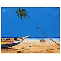 'Blue Sky' - Blue Seascape Original Painting from Ghana