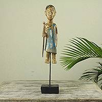 Wood sculpture, 'Okyeame' - Akan Linguist Original Wood Sculpture with Stand
