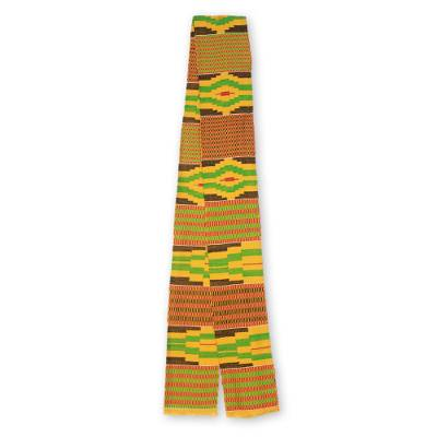 Cotton blend kente scarf, 'Akan Gold Dust' (5 inch width) - Handwoven African Yellow Kente Cloth Scarf (5 Inch Width)