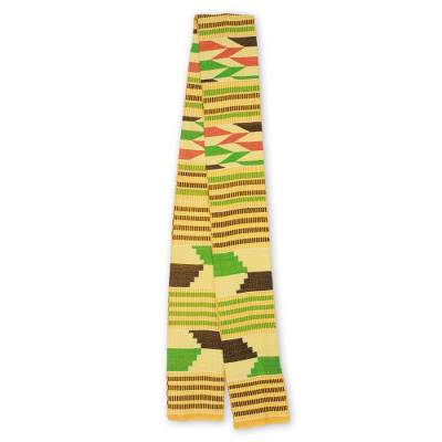Cotton blend kente scarf, 'Inequality' (1 strip) - One Strip Handwoven Green and Yellow African Kente Scarf