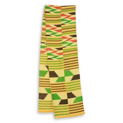 Cotton blend kente scarf, 'Inequality' (2 strips) - Two Strip Handwoven Green and Yellow African Kente Scarf