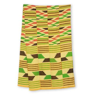 Cotton blend kente scarf, 'Inequality' (4 strips) - 4 Strip Handwoven Green and Yellow African Kente Scarf