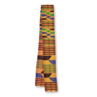 Cotton blend kente scarf, 'Eclectic' (1 strip) - One Strip Handwoven Multicolor African Kente Scarf