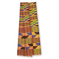 Cotton blend kente scarf, 'Eclectic' (2 strips) - Two Strip Handwoven Multicolor African Kente Scarf