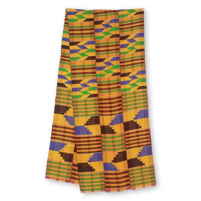 Cotton blend kente scarf, 'Eclectic' (3 strips) - Three Strips Handwoven Multicolor African Kente Scarf