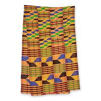 Cotton blend kente scarf, 'Eclectic' (4 strips) - Four Strip Handwoven Multicolor African Kente Scarf