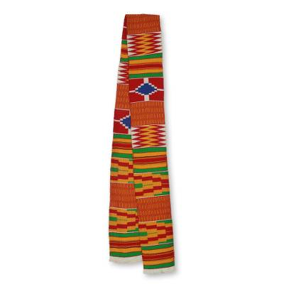 Cotton blend kente scarf, 'Shield' (1 strip) - 1 Strip Handwoven Red Yellow Green African Kente Scarf
