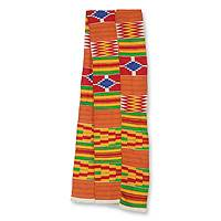 Cotton blend kente scarf, 'Shield' (2 strips) - 2 Strips Handwoven Red Yellow Green African Kente Scarf