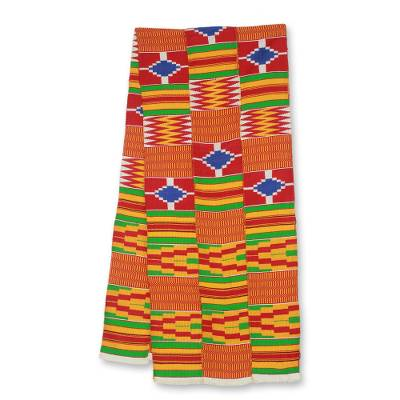 Cotton blend kente scarf, 'Shield' (3 strips) - 3 Strips Handwoven Red Yellow Green African Kente Scarf