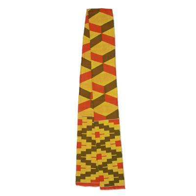 Cotton blend kente scarf, 'Double Wisdom' (1 strip) - One Strip Handwoven Yellow and Red African Kente Scarf