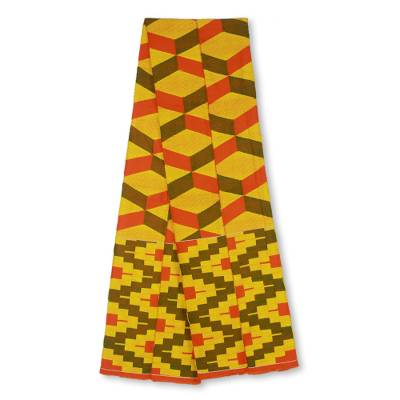 Cotton blend kente scarf, 'Double Wisdom' (2 strips) - Two Strips Handwoven Yellow and Red African Kente Scarf