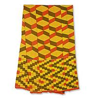 Cotton blend kente scarf, 'Double Wisdom' (4 strips) - One Strip Handwoven Yellow and Red African Kente Scarf