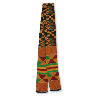 Cotton blend kente scarf, 'First Lady' (1 strip) - Bright Geometric Handwoven Cotton Blend Kente Scarf 1 Strip
