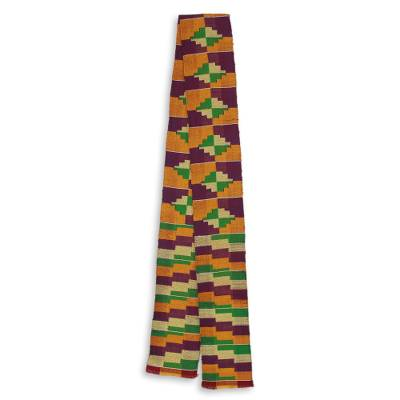 Cotton blend kente scarf, 'Wisdom for Two' (1 strip) - One Strip Handwoven Yellow and Purple African Kente Scarf