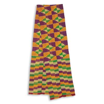 Cotton blend kente scarf, 'Wisdom for Two' (2 strips) - Two Strips Handwoven Yellow and Purple African Kente Scarf