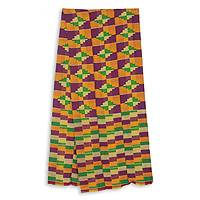 Cotton blend kente scarf, 'Wisdom for Two' (3 strips) - Three Strips Handwoven Yellow and Purple African Kente Scarf