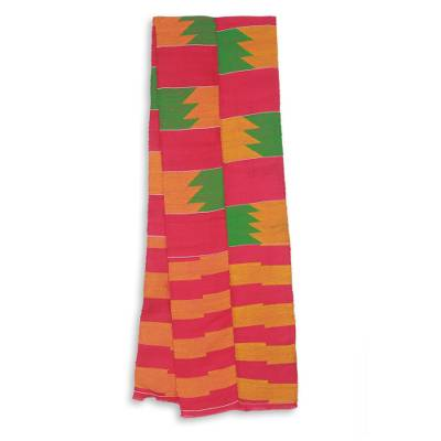 Cotton blend kente scarf, 'Fingers' (2 strips) - Two Strips Handwoven Pink and Orange African Kente Scarf