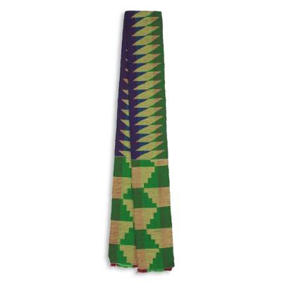 Cotton blend kente scarf, 'Finger of Wisdom' (1 strip) - One Strip Handwoven Green and Blue African Kente Scarf