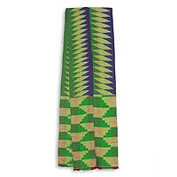 Cotton blend kente scarf, 'Finger of Wisdom' (2 strips) - Two Strips Handwoven Green and Blue African Kente Scarf