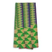 Cotton blend kente scarf, 'Finger of Wisdom' (3 strips) - Three Strips Handwoven Green and Blue African Kente Scarf