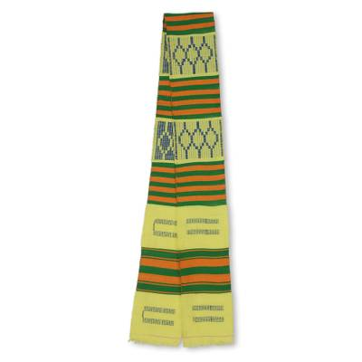 Cotton blend kente scarf, 'Time Changes' (1 strip) - Single Strip Handwoven Gold and Green African Kente Scarf