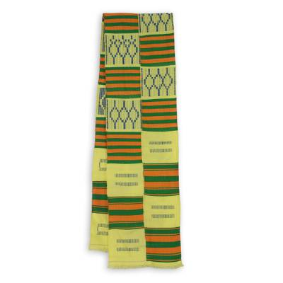 Cotton blend kente scarf, 'Time Changes' (2 strips) - Two Strips Handwoven Gold and Green African Kente Scarf