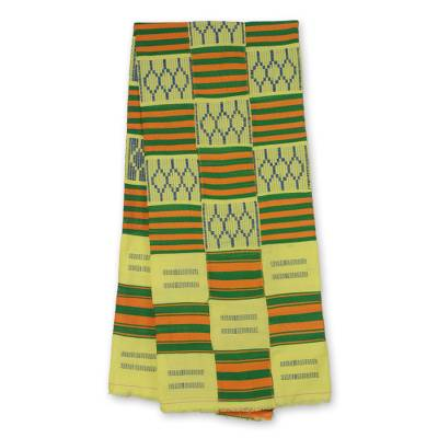 Cotton blend kente scarf, 'Time Changes' (3 strips) - Three Strips Handwoven Gold and Green African Kente Scarf