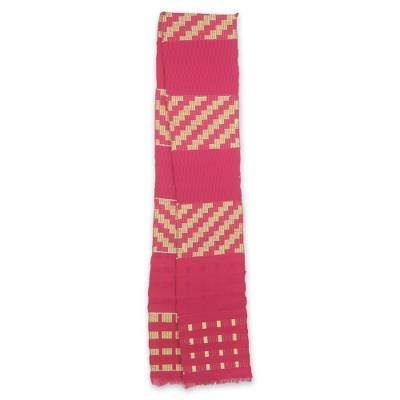 Cotton blend kente scarf, 'The Heart's Desire' (1 strip) - One-Strip Handwoven Yellow and Pink African Kente Scarf