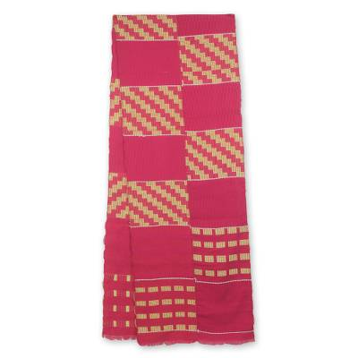 Cotton blend kente scarf, 'The Heart's Desire' (2 strips) - Two Strip Hand Woven Yellow and Pink African Kente Scarf