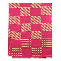 Cotton blend kente shawl, 'The Heart's Desire' (4 strips) - Four Strip Handwoven Yellow and Pink African Kente Shawl
