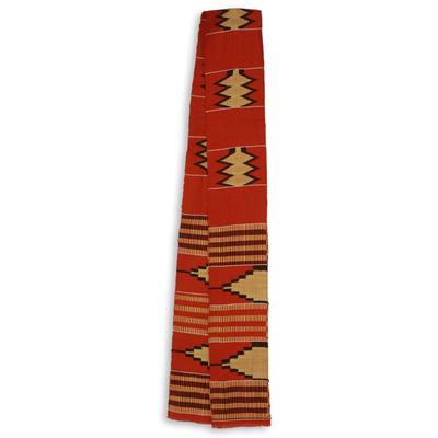 Cotton blend kente scarf, 'Champion' (1 strip) - Single Strip Handwoven Orange and Cream African Kente Scarf