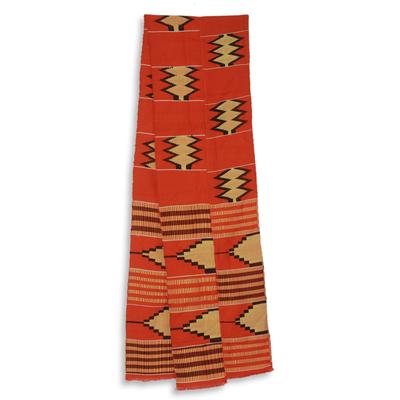Cotton blend kente scarf, 'Champion' (2 strips) - Double Strip Handwoven Orange and Cream African Kente Scarf