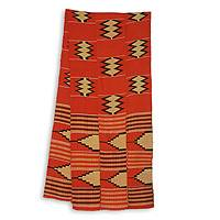 Cotton blend kente scarf, 'Champion' (3 strips) - Triple Strip Handwoven Orange and Cream African Kente Scarf