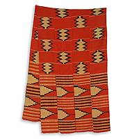 Cotton blend kente scarf, 'Champion' (4 strips) - Four Strips Handwoven Orange and Cream African Kente Scarf