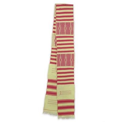 Cotton blend kente scarf, 'Pink Heart's Desire' (1 strip) - Pink and Cream Handwoven African Kente Scarf 1 Strip