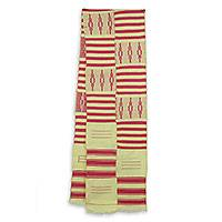 Cotton blend kente scarf, 'Pink Heart's Desire' (2 strips) - Pink and Cream Handwoven African Kente Scarf 2 Strips