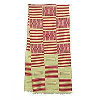 Cotton blend kente scarf, 'Pink Heart's Desire' (3 strips) - Pink and Cream Handwoven African Kente Scarf 3 Strips