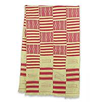 Cotton blend kente shawl, 'Pink Heart's Desire' (4 strips) - Pink and Cream Handwoven African Kente Shawl 4 Strips