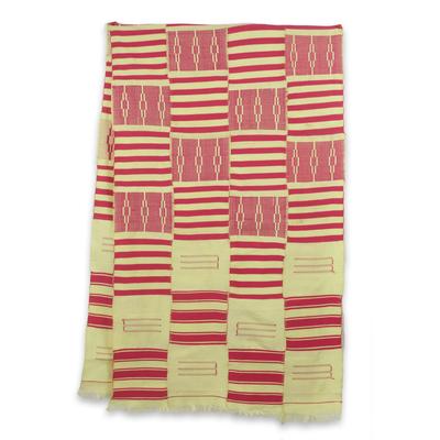 Cotton blend kente shawl, 'Pink Heart's Desire' (4 strips) - Pink and Cream Handwoven African Kente Shawl 4 Strips